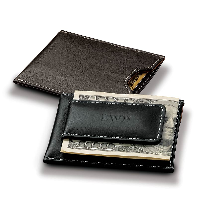 Moneybiz Clip Leather Wallet, with Personalization