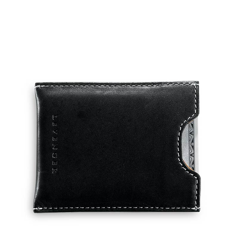 Moneybiz Clip Leather Wallet, Black