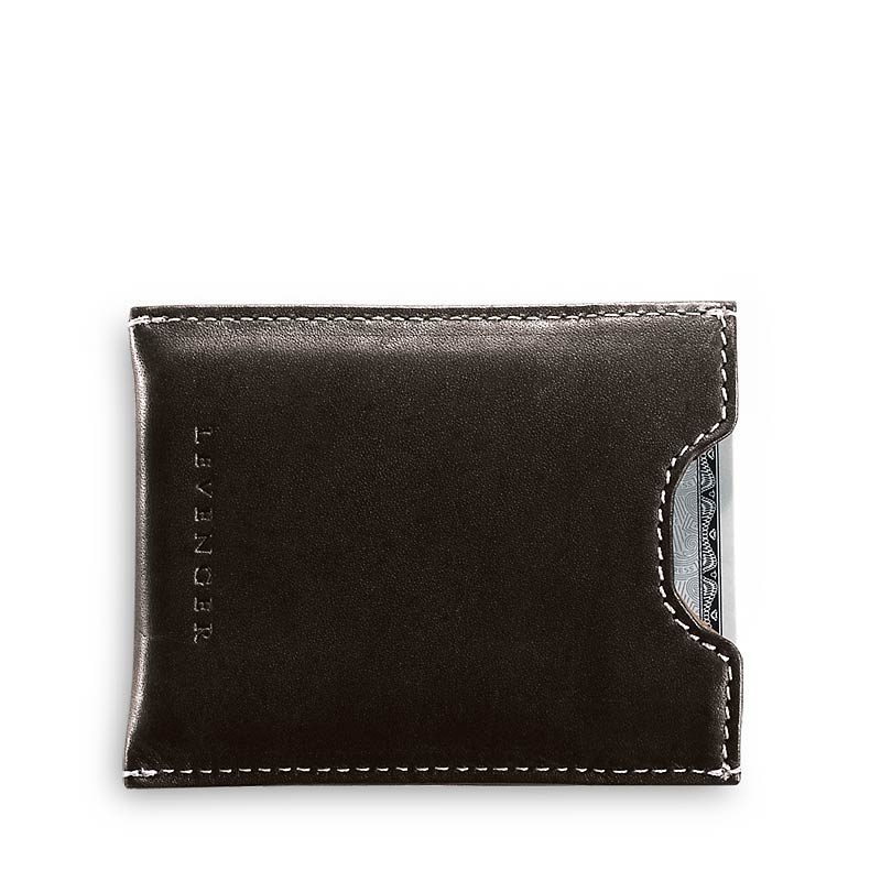 Moneybiz Clip Leather Wallet, Espresso