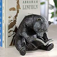 Our Reading Bear Bookend in cast iron