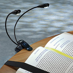 LED Flexible Neck Clip-On Booklight (double bulb) - Reading Light - Levenge
