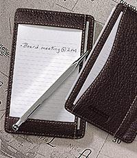 A pocket briefcase and leather notepad