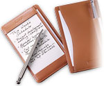 Leather notepad and pen in one pocket briefcase