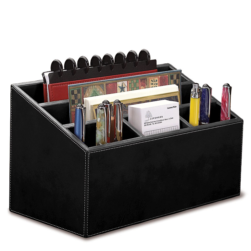 Morgan desk set three pieces leather desk set desk - Desk organizer sets ...