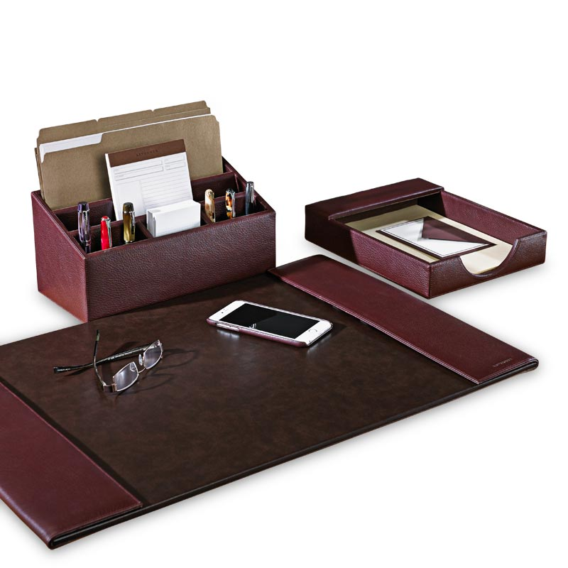 Bomber jacket desk set three pieces leather desk - Desk organizer sets ...