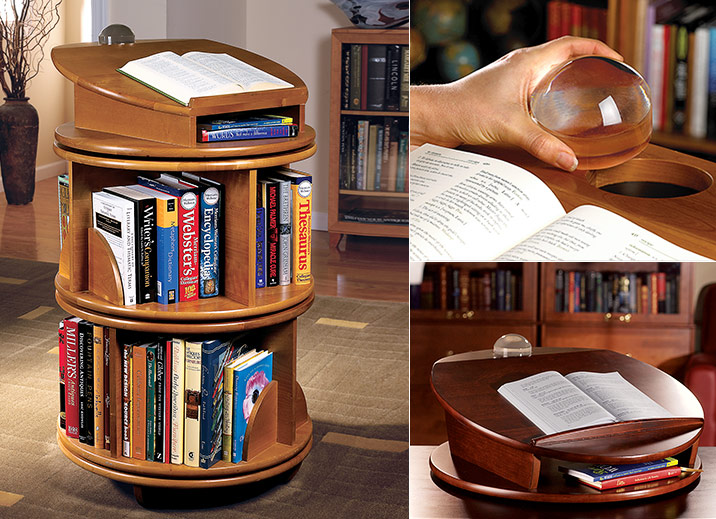 This beautiful bookcase system turns conveniently--and is sure to turn  heads in your home, office or library. Our Carousel bookcases are revolving,  ... - Carousel Revolving Bookcase - Revolving Bookcase, Wood Bookcase