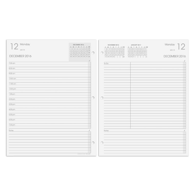 Our 2014 daily planner refill in a threering format Levenger – Daily Agenda