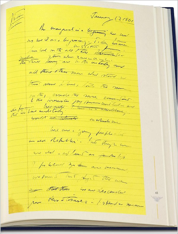 John F. Kennedy: His Inaugural Address - JFK's handwritten version and a marked-up typed draft