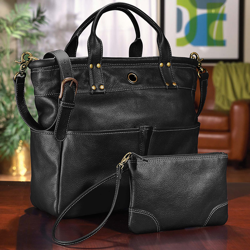 St. Tropez Leather Tote Bag & Pouch - Women's Tote, Wristlet ...