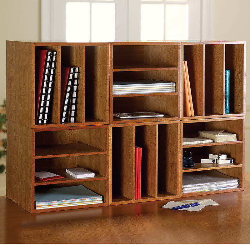 Cubi Desk Bookcase, Natural Cherry - Cubi Desk Bookcase - Wood Bookcase, Stackable Storage - Levenger
