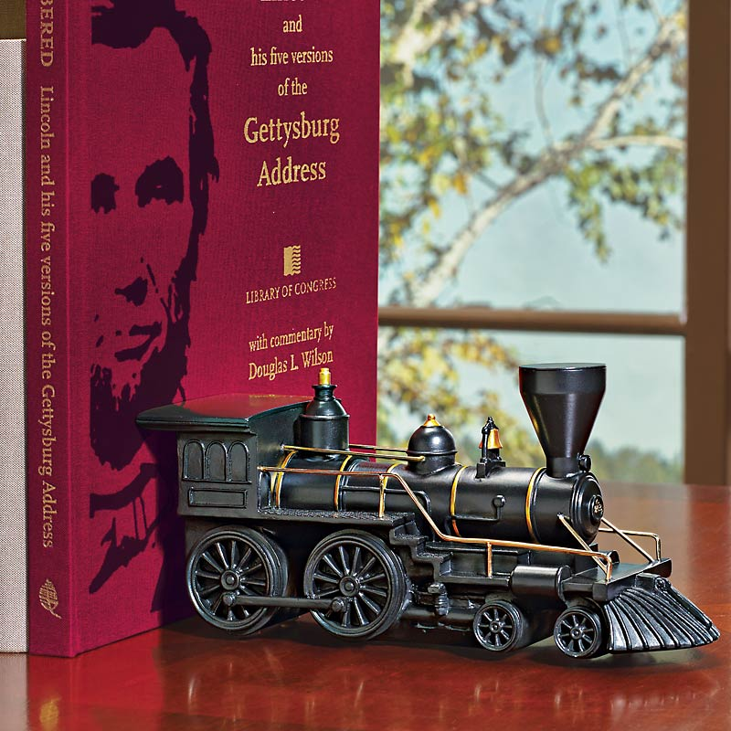 Civil War Train Bookend & Lincoln Gettysburg Book