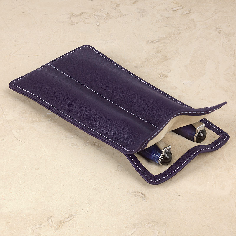 Carezza Double Pen Sleeve, Eggplant
