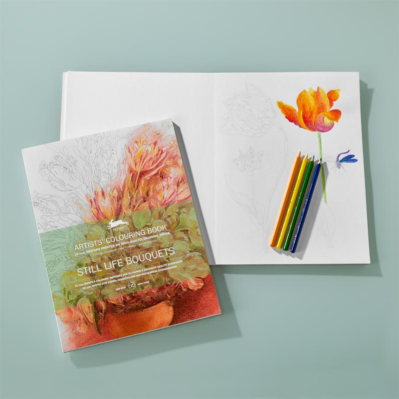 Artists Coloring Book Pepin : Artists colouring book u2013 still life bouquets levenger