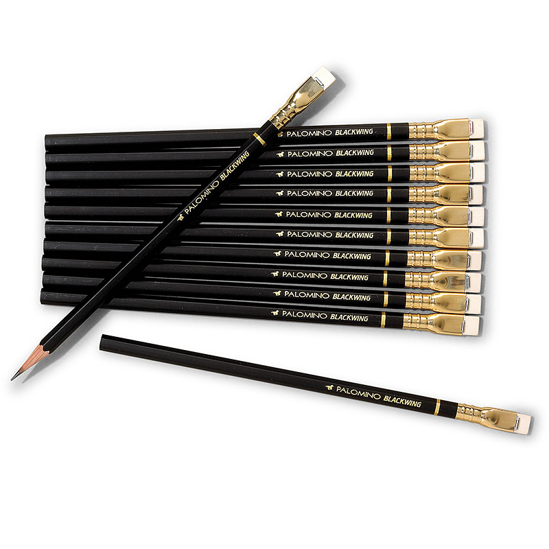 Palomino Blackwing Soft Pencils, Black Casing with White Erasers (Set of 12