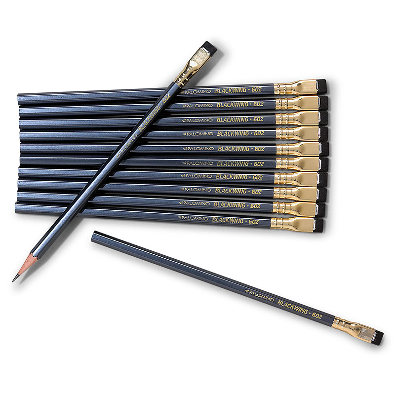 Palomino Blackwing 602 Firm Pencils, Pearl Gray Casing with Black Erasers