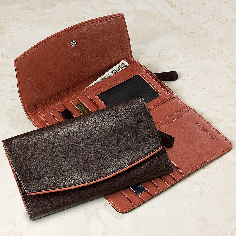 Marley Clutch Wallet, Raisin/Rust