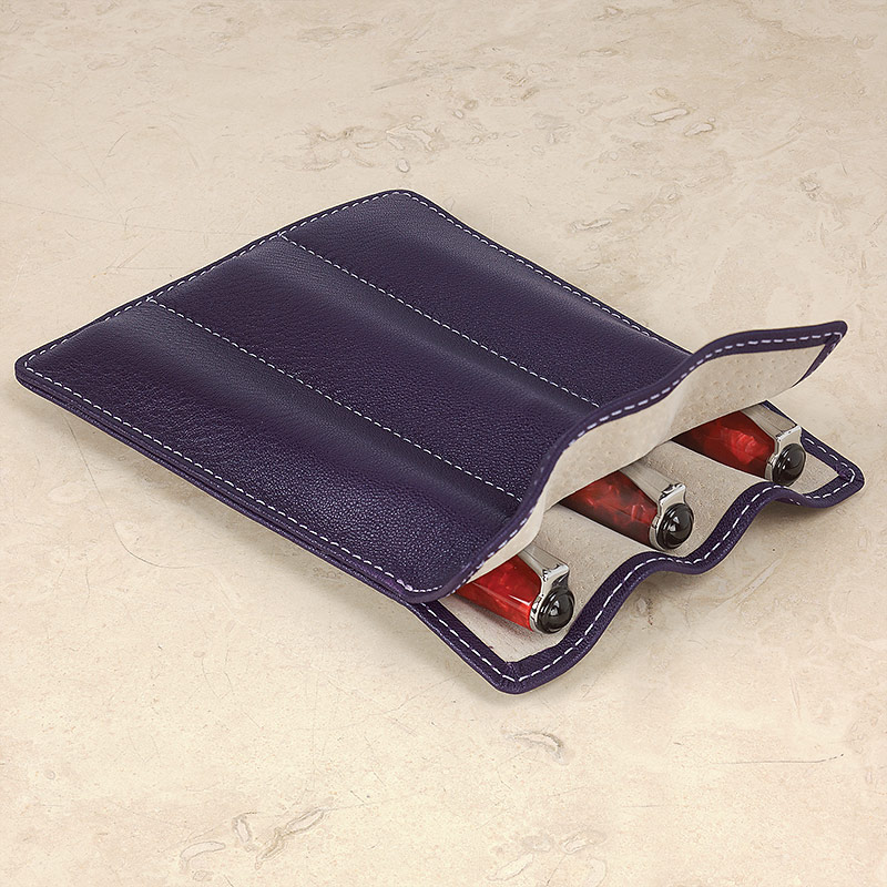 Carezza Triple Pen Sleeve, Eggplant