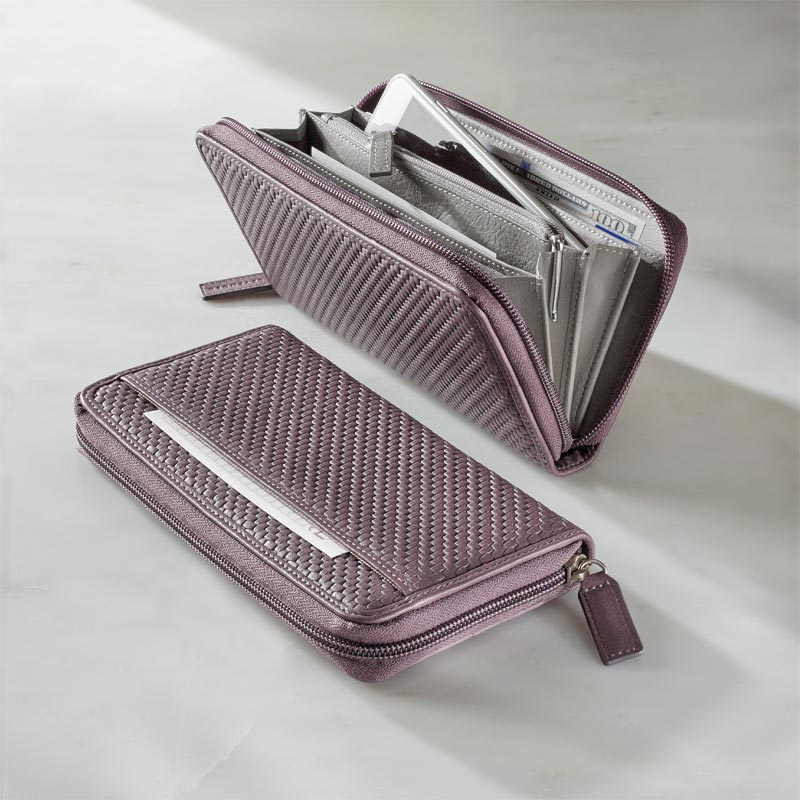 Tuscany Accordion Wallet, Lavender/Grey