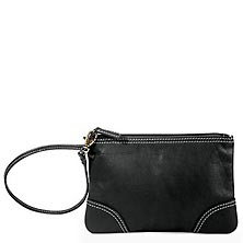 St. Tropez Leather Pouch, Black
