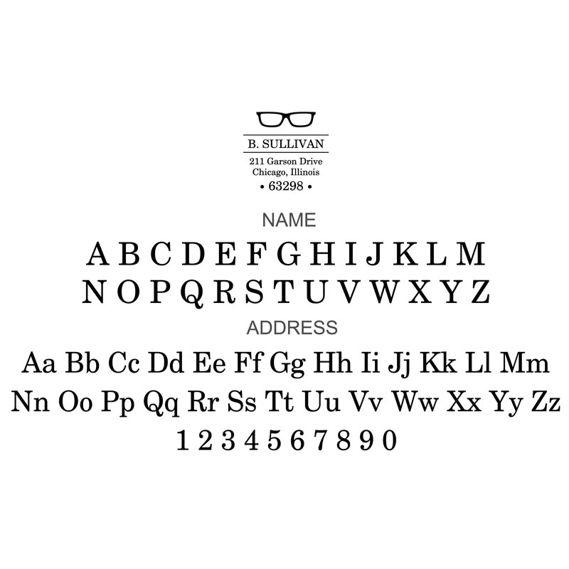 Glasses Personalized Desk Embosser, Square