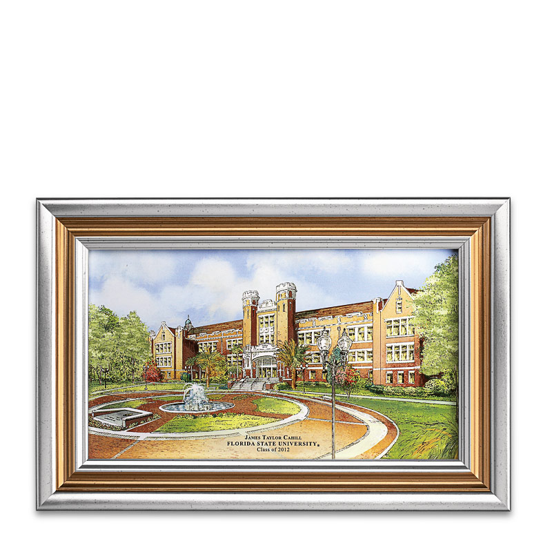 Personalized Silver-Framed College Print