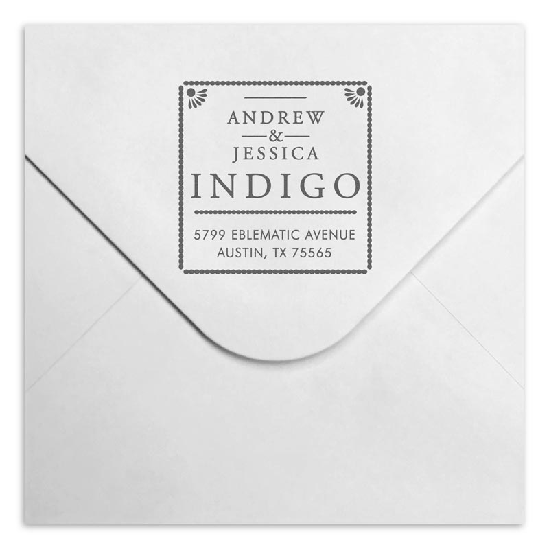 Indigo Personalized Self-Inking Stamper, Square