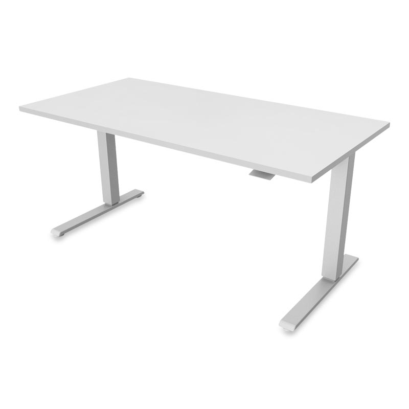 Float Desk, Base Silver Top Platinum