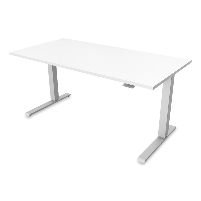 Float Desk, Base Silver Top White