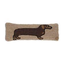 "Dachsund 8"" x 24"" Hooked Pillow"