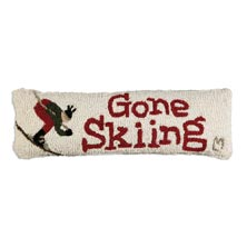 "Gone Skiing 8"" x 24"" Hooked Pillow"