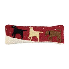 "Snow Patrol 3 Labs 8"" x 24"" Hooked Pillow"