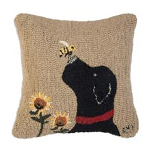 """Lab with Bee 18"""" x 18"""" Hooked Pillow"""