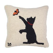 """Black Cat with Butterfly 18"""" x 18"""" Hooked Pillow"""