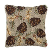 """North Woods Cones 18"""" x 18"""" Hooked Pillow"""
