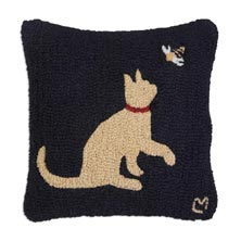 "Cat with Honeybee 18"" x 18"" Hooked Pillow"
