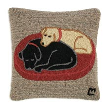 "Jack and Jill on Dog Bed 18"" x 18"" Hooked Pillow"