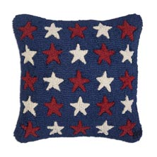"Many Stars 18"" x 18"" Hooked Pillow"
