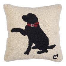 """""""Please"""" Black Lab 18"""" x 18"""" Hooked Pillow"""