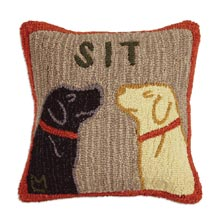 """Sit 18"""" x 18"""" Hooked Pillow"""