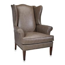 Levenger Leather Wingback Chair -Touch of Grey