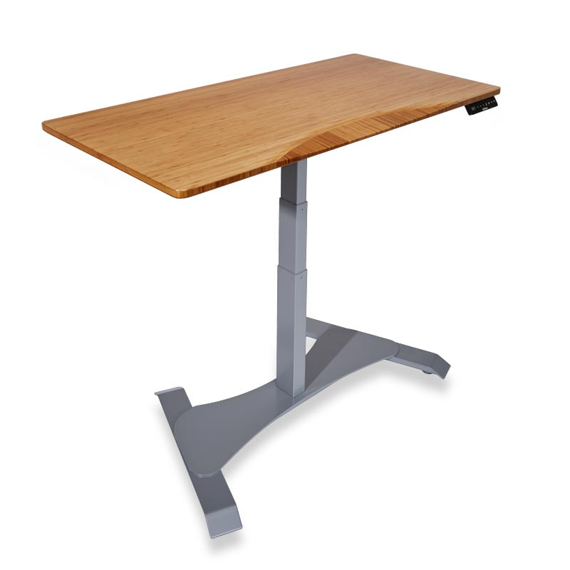Right Height Rectangle Desk - Dark Bamboo, Silver Base