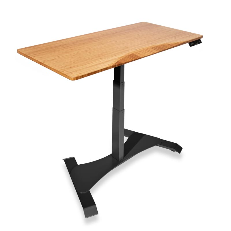 Right Height Rectangle Desk - Natural Bamboo, Black Base