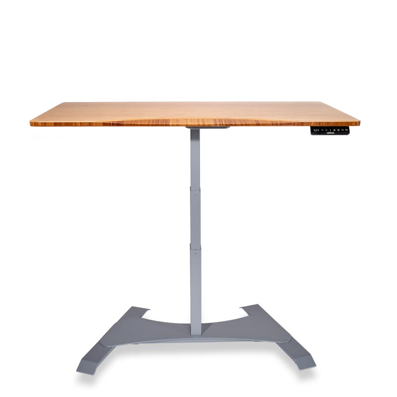 Right Height Rectangle Desk - Natural Bamboo, Silver Base