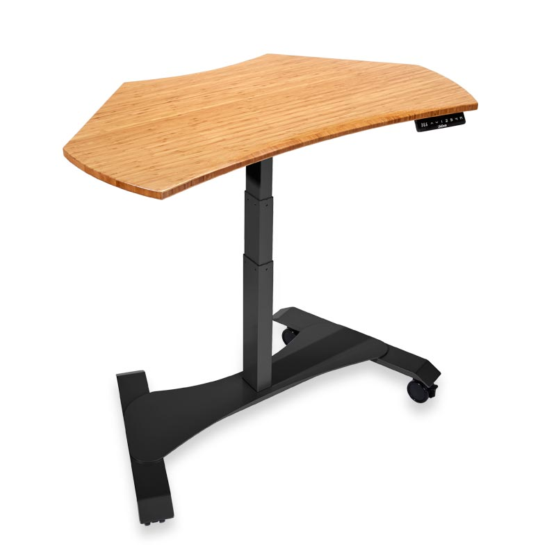 Right Height Corner Desk - Natural Bamboo, Black Base