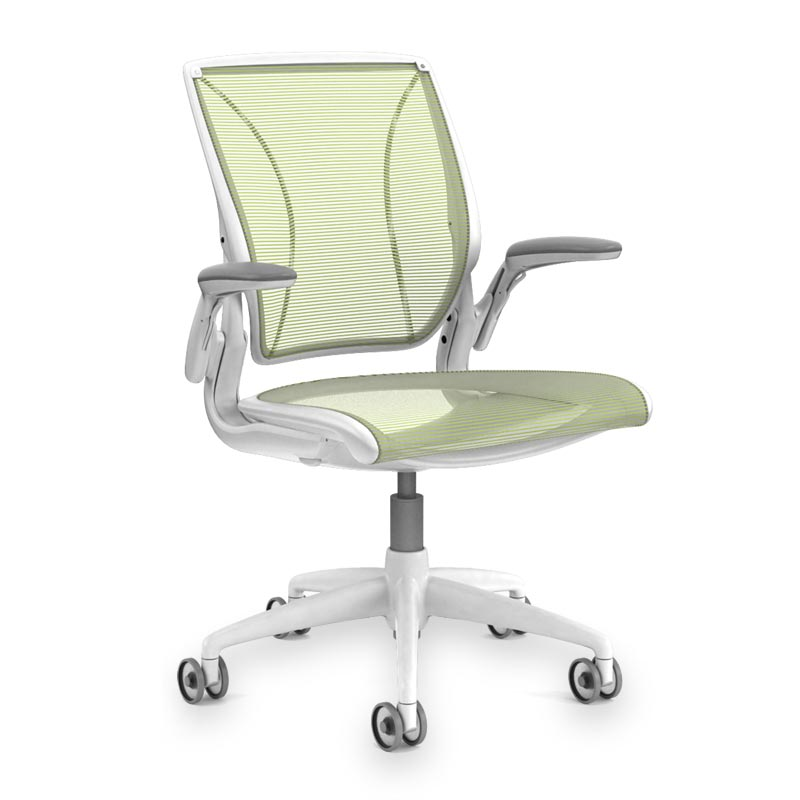 Diffrient World Chair, Base White Mesh Citron