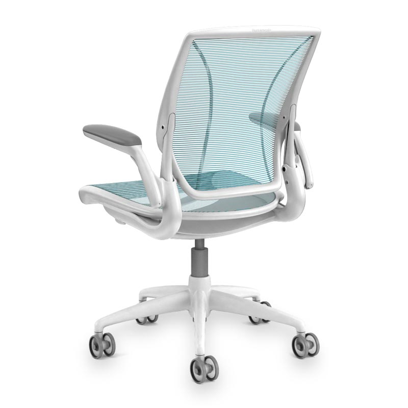 Diffrient World Chair, Base White Mesh Cyan