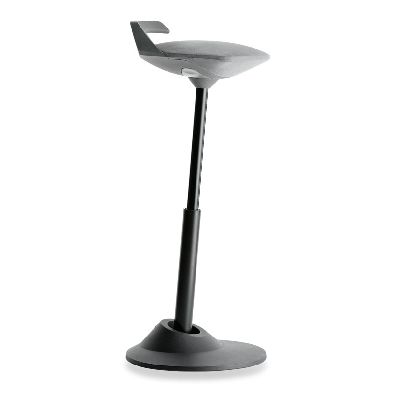Muvman Stool, Base Black Seat Grey