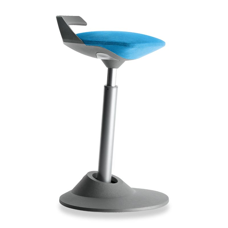 Muvman Stool, Base Grey Seat Blue