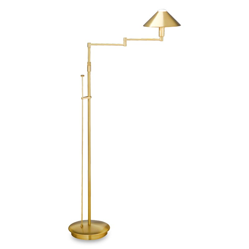 Absolute Swing-Arm Floor Lamp, Antiqued Brass