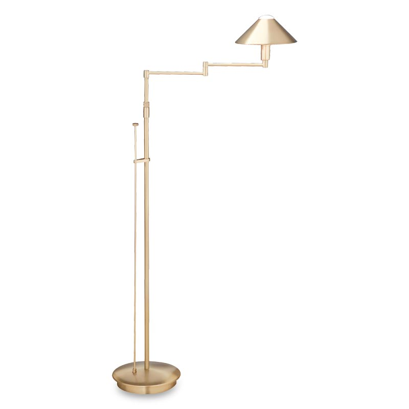 Absolute Swing-Arm Floor Lamp, Brushed Brass